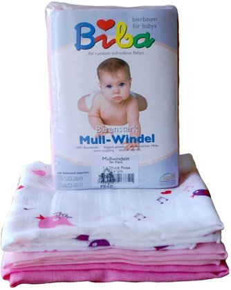 "Biba muslin diapers ""Bärenstark"" - The strong suction gauze diapers by BIBA are real all-rounders. As a burp cloth, mat, in the crib or stroller - just about anywhere, they are essential."