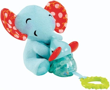 Fisher-Price pull up toy elephant - The plush elephant Mommy made of soft plush has a green biting help sheet and is connected via a fabric band with her elephant baby, which includes bitin...