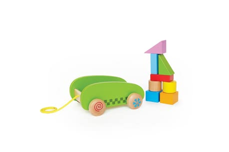 Hape Bau-Anhänger - With the colorful building blocks of Hape construction trailer your child of his creativity can unleash.