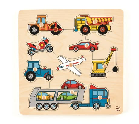 Hape knob puzzle vehicles - What is doing on the road? This colourful button puzzle is introduced your child on popular vehicles.