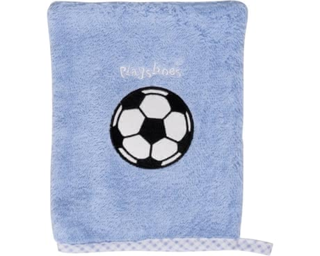 Playshoes wash glove, football - This Playshoes towelling baby washcloth is just made for babies delicate skin. The practical glove has a size of 15 x 20 cm and is made of 100% cotton.
