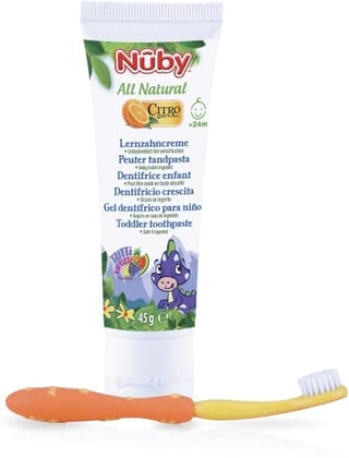 Nuby All Natural Kombipack Lernzahncreme - The Nuby all natural combo pack is the perfect set for the first teeth. It contains a learning toothpaste and a toothbrush of learning.