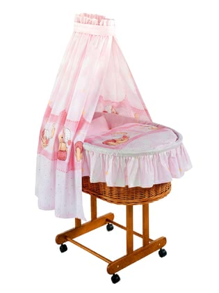 Zöllner bassinet set Kuschelbär rose -  Our wonderful bassinet set Kuschelbär rose by Zöllner includes bed linen, cot bumper and canopy made of 100% cotton.