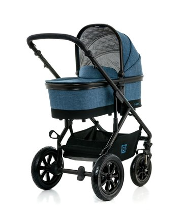 Moon Multi-Functional Stroller Nuova with Aluminium-Carrycot blue - melange 2017 - большое изображение