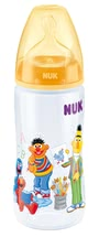 NUK Sesame Street FIRST CHOICE+ baby bottle, 300ml - The popular residents of the Sesame Street decorate the NUK FIRST CHOICE + baby bottle, 300ml.