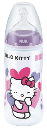 NUK FIRST CHOICE + Hello Kitty baby bottle, 300ml - The Hello Kitty FIRST CHOICE+ baby bottle by NUK has a content of 300ml and is perfectly suitable for little Hello Kitty fans.