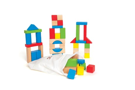 Hape colourful wooden bricks - The colourful bricks by Hape will provide a lot of fun to your child.