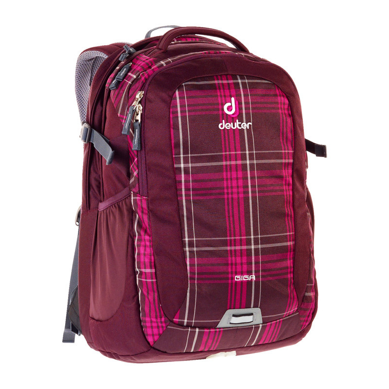 deuter schul laptop rucksack giga in aubergine check 2016. Black Bedroom Furniture Sets. Home Design Ideas