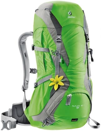 Deuter women's hiking backpack Futura 30 SL sprin-silver -  The light women's hiking backpack Futura 30 SL by Deuter is perfect for longer hikes, mountain hikes which last several days or fixed rope routes.