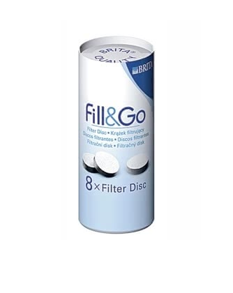BRITA Fill & Go Disc - The BRITA fill & go disc ensures full flavor. The activated carbon filter reduces the chlorine and other taste substances from tap water.