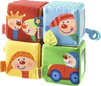 Haba Kalle Kasper Stapelwürfel - Small explorers from about 6 months love the cheerful colours, patterns and elements of Haba Kalle Kasper stacking cubes.