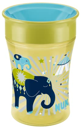 Magic Cup 250ml con borde de beber NUK - Magic Cup NUK – Aprender beber fácilmente y completamente sin manchar