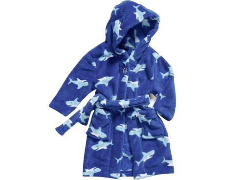 Playshoes Fleece-Bademantel Hai in blau 2016 - большое изображение