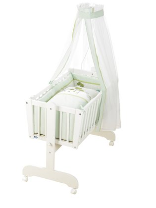 Alvi Komplettset Pendelwiege Sina, Design Dinos - The classically decorated pendulum cradle Sina by Alvi is the perfect place to sleep for their little angel.