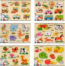 Beeboo puzzle 10 pieces - Recognizing and matching shapes and pictures with the Beeboo puzzle.