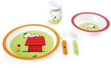 Peanuts Kindergeschirr - Charlie Brown, Snoopy and the small Woodstock are soon at each meal. Adorn the great peanuts kids dish consisting of plate, Bowl, Cup, and cutlery.