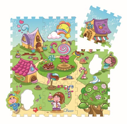 Chicco puzzle mats city & candy - Chicco puzzle mats city & candy – The colourful puzzle mats city & candy invite your child to puzzle and study.