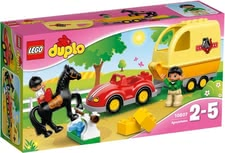 Lego Duplo waggon with horse trailer - Lego Duplo waggon with horse trailer – Your child can bring the horses to the next exciting tournament with this trailer.