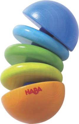 Haba  Klapperfigur Klick-Klack - The rattle figure Click-Clack consists of small, colorful wooden parts which are threaded on a rubber band, funny look into the hand of your baby, and move.