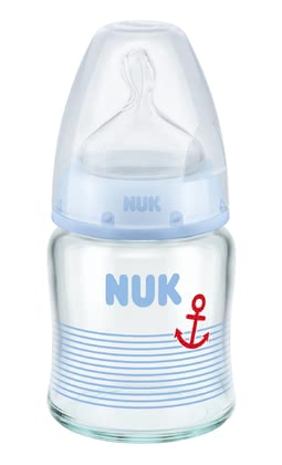 NUK First Choice+ Glas-Babyflasche, Silikon Anti-Colic Trinksauger blau 2017 - Image de grande taille