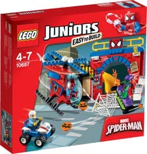 LEGO Juniors Spiderman hiding place - Lego Junios Spiderman hiding place – Start Spiderman's helicopter and experience exciting adventures.