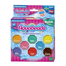 Aquabeads glitter beads - Aquabeads glitter beads – This refilling set comes with 800 beads in eight different colours.
