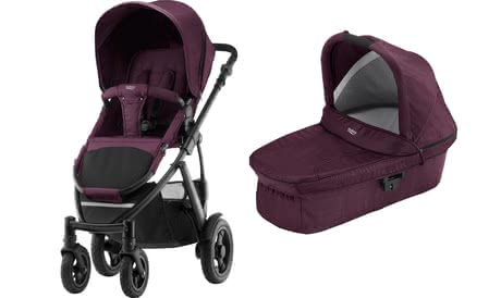 Britax Römer SMILE 2 inkl. Hard Carrycot Kinderwagen-Aufsatz Wine Red Denim 2019 - Großbild