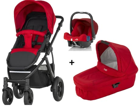 SMILE 2 Britax Römer incl. capazo Hard Carrycot + portabebés Safe Plus SHR II Flame Red 2016 - Imagen grande