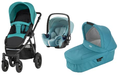 Britax Römer SMILE 2 incl. Hard Carrycot + infant carrier Safe Plus SHR II Lagoon Green 2018 - large image