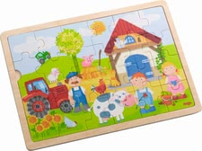 "Haba wooden puzzle – Anton's farm"" - Haba wooden puzzle – Anton's farm"" – Put all 24 pieces of this puzzle together and a farm will arise."