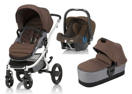 Britax Römer AFFINITY 2 inkl. Colour Pack + Kinderwagen-Aufsatz + Babyschale Safe Plus SHR II  Wood Brown 2017 - Großbild