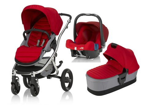 Britax Römer AFFINITY 2 inkl. Colour Pack + Kinderwagen-Aufsatz + Babyschale Safe Plus SHR II  Flame Red 2017 - Großbild
