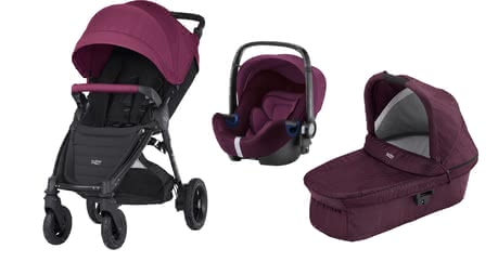 Britax B-Motion 4 Plus inkl. Canopy Pack + Hard Carrycot + Baby Safe 2 i-Size Wine Red Denim 2020 - Großbild