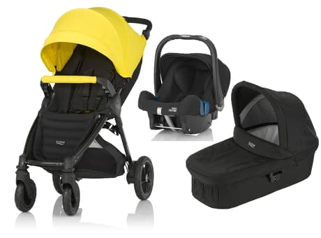 Britax B-Motion 4 Plus inkl. Canopy Pack + Kinderwagen-Aufsatz + Babyschale Sunshine Yellow 2018 - Großbild