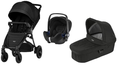 Britax B-Motion 4 Plus inkl. Canopy Pack + Hard Carrycot + Baby Safe 2 i-Size Cosmos Black 2019 - Großbild