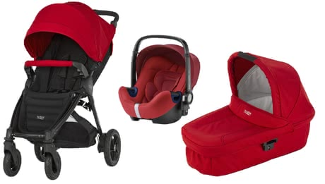 B-Motion 4 Plus Britax incl. Canopy Pack + capazo Hard Carrycot Flame Red 2016 - Imagen grande