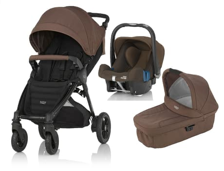 Britax B-Motion 4 Plus inkl. Canopy Pack + Kinderwagen-Aufsatz + Babyschale Wood Brown 2016 - Großbild