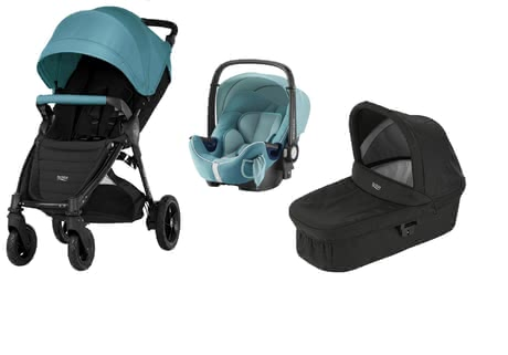 Britax B-Motion 4 Plus inkl. Canopy Pack + Hard Carrycot + Baby Safe 2 i-Size Lagoon Green 2018 - Großbild