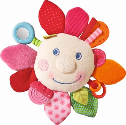 "Haba Teether Cuddly ""Spring flower"" - Haba Teether Cuddly ""Spring flower"" – This teether blazes in a lot of great colours and offers plenty possibilities to discover."