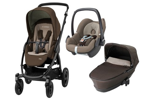 Maxi Cosi Stella inkl. Kinderwagen-Aufsatz+Babyschale Pebble Earth Brown 2017 - Großbild