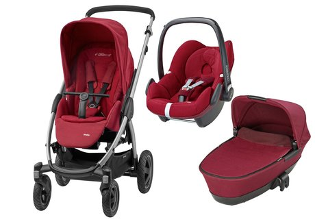 Maxi-Cosi Stella incl. carrycot attachment + infant carrier Pebble Robin Red 2017 - large image