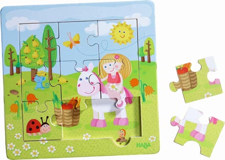 "Haba framed wooden puzzle ""Fairy Garden"" - Haba framed wooden puzzle ""Fairy Garden"" – nine handy puzzle pieces for double fun."