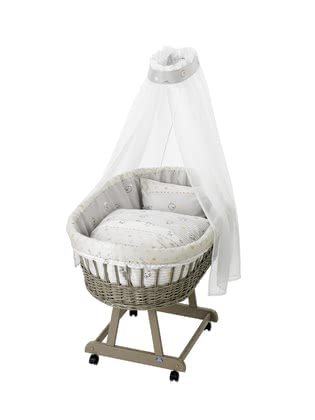 "Alvi Complete Set Bassinet ""Birthe"", Taupe – ""Stripes & Bears"" 2017 - большое изображение"