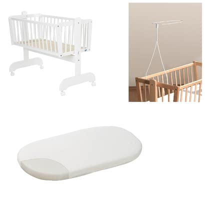 Alvi set - cradle Sina white fleesce mattress and canopy holder 2017 - большое изображение
