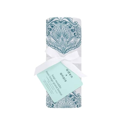 Pañales Classic Swaddle Single Pack aden+anais paisley - teal - Imagen grande