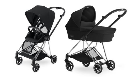 Cybex Platinum Buggy MIOS Complete Set including Colour Pack and Carrycot Stadust Black_black 2018 - большое изображение