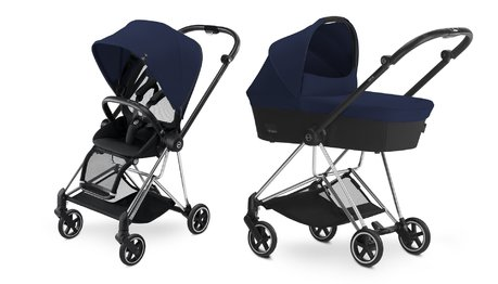 Cybex Platinum Buggy MIOS Complete Set including Colour Pack and Carrycot Midnight Blue_navy blue 2018 - большое изображение
