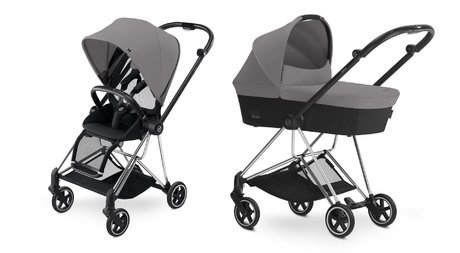 Cybex Platinum Buggy MIOS Complete Set including Colour Pack and Carrycot Manhattan Grey_mid grey 2018 - большое изображение