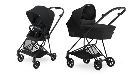 Cybex Platinum Buggy MIOS Complete Set including Colour Pack and Carrycot Stardust Black_black 2018 - большое изображение