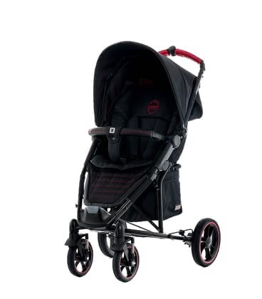 Moon Buggy Flac – Sport -  * A sporty look with a touch of F1! Red decorative seams on elegant black surfaces, faux-leather handles as well as a sporty footrest and colour-coordinated racing rims contribute to the Flac's sporty appearance.